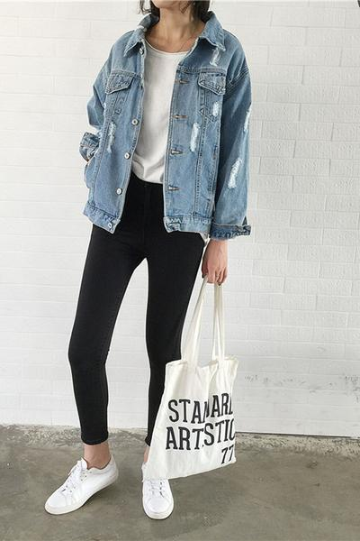 Light-Washed Heavily Distressed Oversized Denim Jacket
