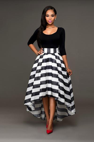 Scoop Blouse with Irregular Stripe Skirt Two Pieces Dress Set