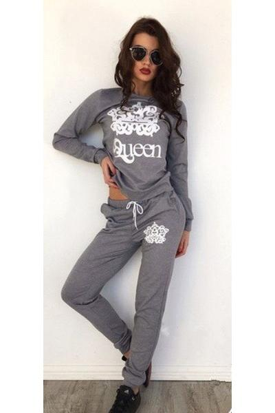 Letter Print Hoodie with Harem Pants Two Pieces Set