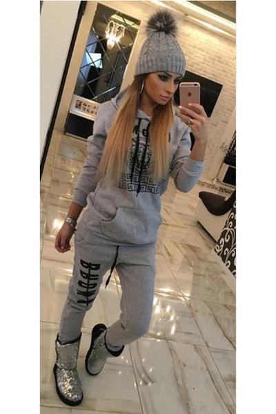 Pure Color Letter Hoodie with Sports Pants Two Pieces Set