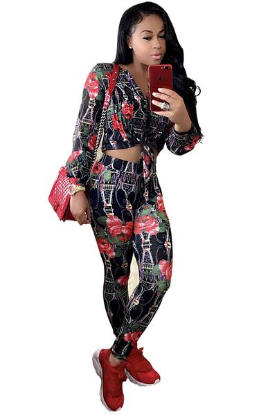 Flower Print Blouse with Pencil Pants Two Pieces Set