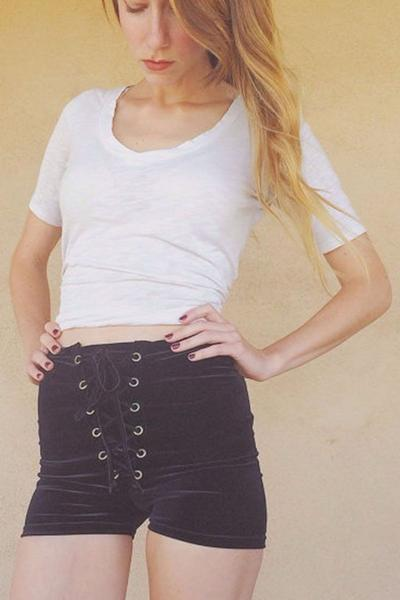 Pure Color High Waist Lace Up Bandage Slim Shorts