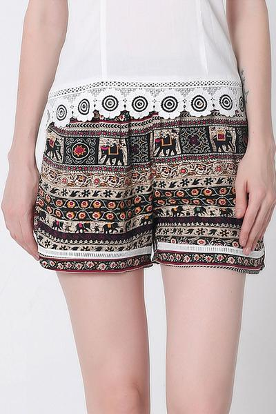 Print High Waist Casual Style Loose Shorts