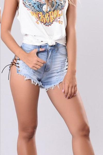 Lace Up Pure Color Denim Bandage Hole Slim Shorts