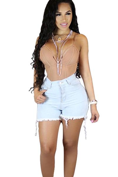 Water Wash Denim Hip Cut Out Hole Tassel Slim Shorts