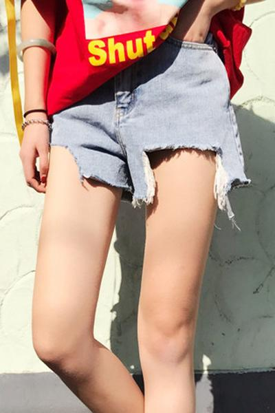 Pure Color Irregular Denim Casual Loose Shorts