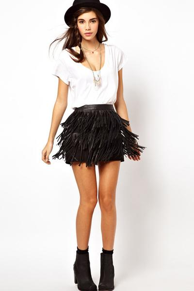 Tassel Pure Color Bodycon Slim Short Skirt