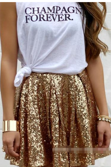 Gold Sequinned High Rise Pleated Short A-Line Skirt
