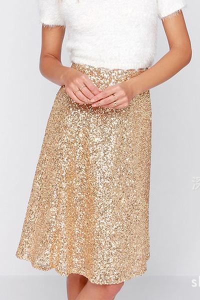 Gold Sequin Embellished High Rise Knee Length A-Line Skirt
