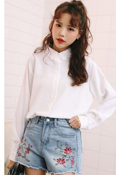 Embroidery Rough Edge Hight Waist Denim Loose Shorts