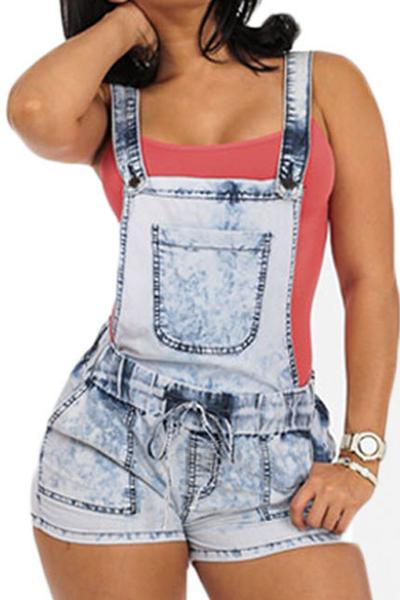 Retro Denim Pure Color Bandage Slim Shorts Rompers