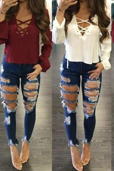 Hollow Out Rough Holes Slim Solid Color Long Jeans