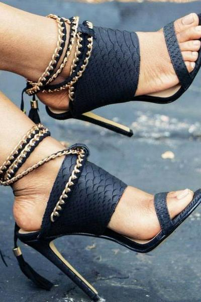 Gold Chain Decorate Tassels Platform Stiletto Heels High Sandals
