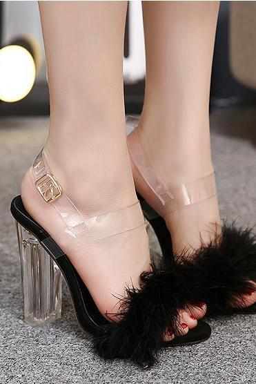 Open-Toe Fur Block Heels with Transparent Ankle Straps