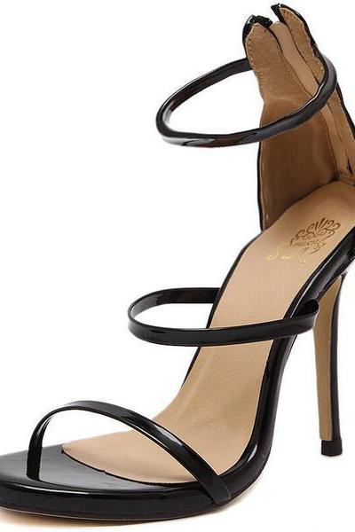 Simple Styles Straps Ankle Wraps Stiletto High Heels Party Sandals Shoes