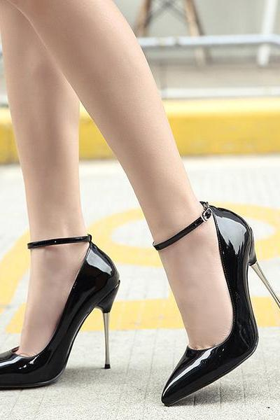 Patent Leather Pointed-toe Ankle Straps High Heel Stilettos