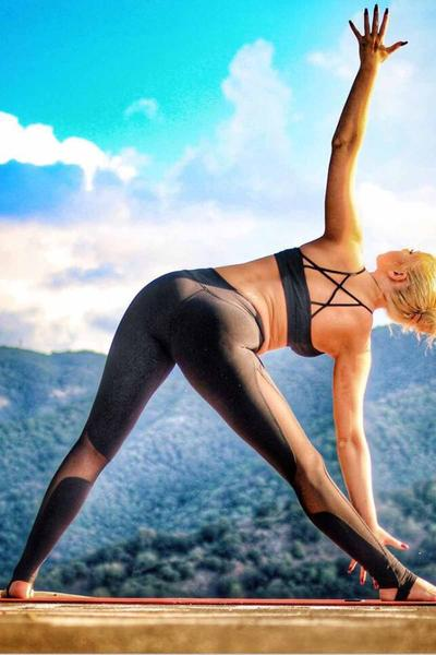 Patchwork Transparent Long Slim Skinny Yoga Sports Pants