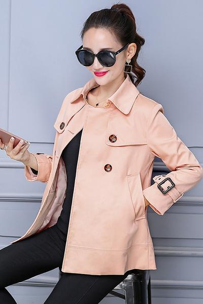 Solid Color Stand Collar Double Breasted Pockets Coat