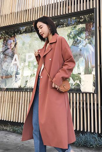 Candy Color Lapel Buttons Pocket Long Coat