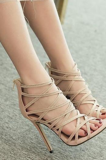 Apricot Stiletto Heel Suede Cage Sandals with Back Zipper