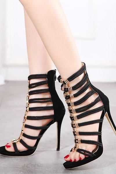 Zipper Suede Stiletto Heel Peep-toe Summer Sandals