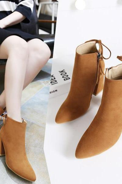 Suede Chunky Heel Pointed Toe Zipper High Heels