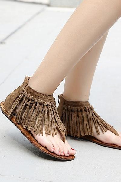 Tassels Slip-on Flat Back Zipper Sandals
