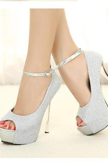 Shinning Rhinestones Peep Toe Ankle Wraps Super High Heels Sandals
