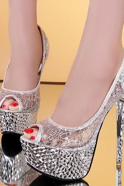 Lace Shinning Rhinestones Peep-toe Platform Stiletto Heels Party Sandals