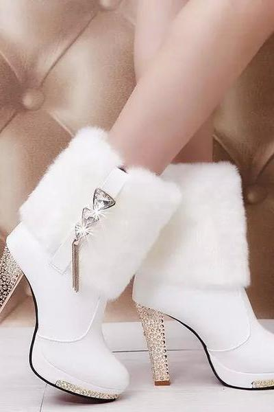 Rhinestone Faux Fur Chains Decorate High Heels Short Boots