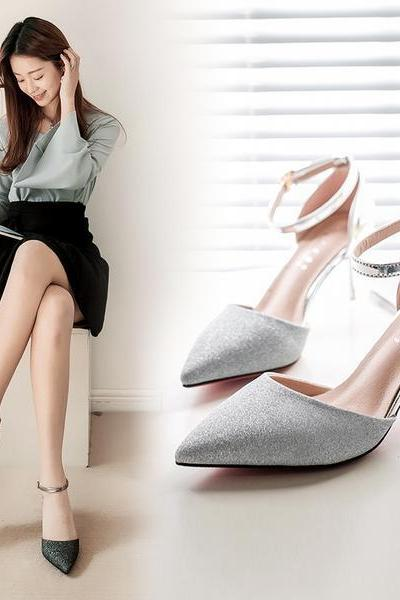 Rhinestone Pointed Toe Ankle Wrap Low Stiletto Heels Shoes