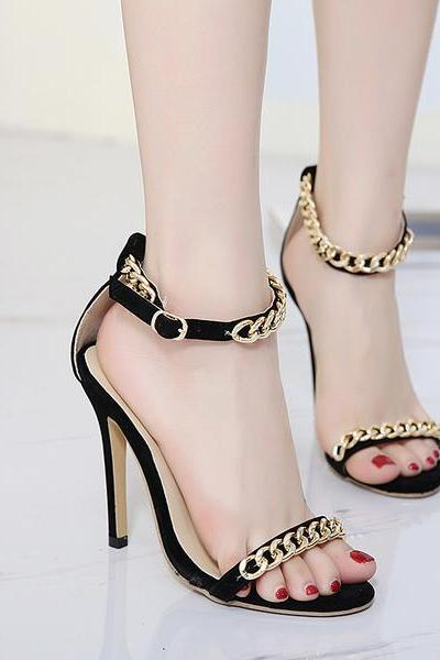 Open Toe Metal Chain Decorate Ankle Wrap Stiletto High Heels Sandals
