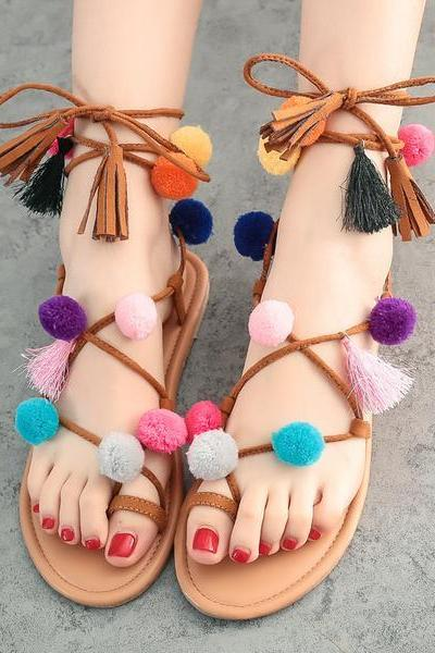 Faux Suede Lace-Up Flat Sandals Featuring Colourful Pom-Poms and Tassels