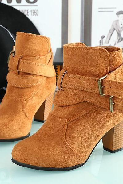 Straps Round Toe Low Chunky Heels Short Boots