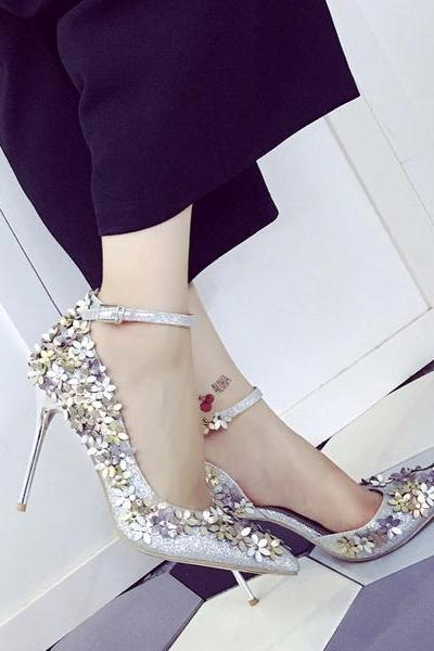 Sequins Flowers Shinning Pointed Toe Stiletto High Heels Party Shoes