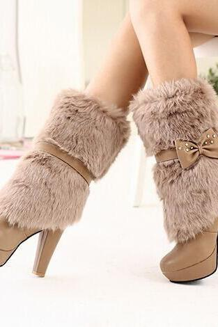 Pointed Toe Platform Stiletto Heels Faux Fur Half Boots