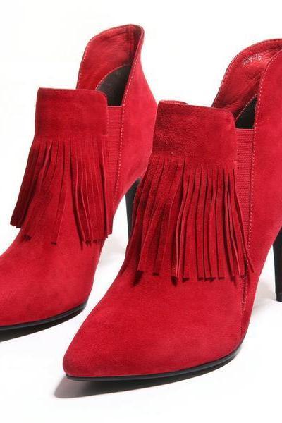Pointed-Toe Suede Tassel Stiletto Short Boots - Red / Black