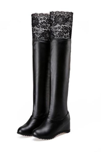 Lace Patchwork Round Toe Inside Heels Over-knee Long Boots