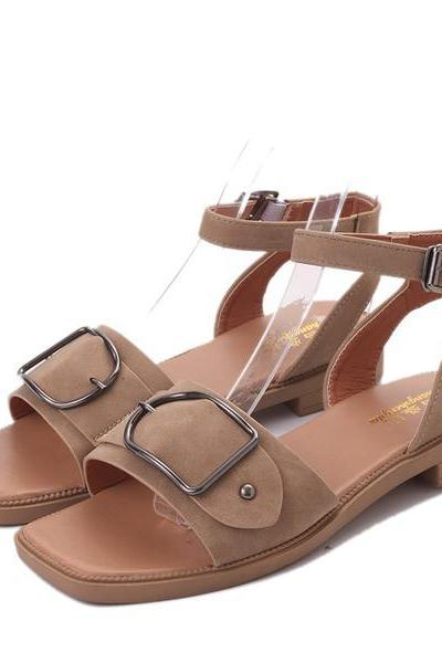 Square-Toe Buckle Ankle Strap Flats Sandals