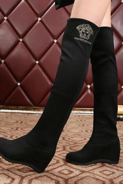 Solid Color Round Toe Inside Heels Wedge Over-knee Long Boots