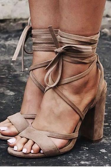 Suede Criss-Cross Lace-Up Chunky High Heels