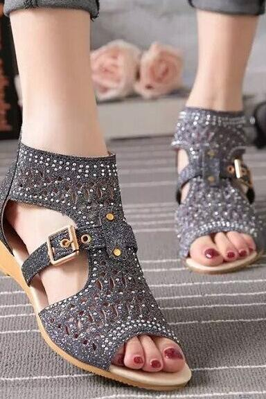Cut Out Peep Toe Back Zipper Roman Flat Sandals