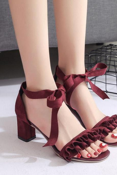 Open-Toe Ruffles Ankle Wrap Chunky Heels, High Heels