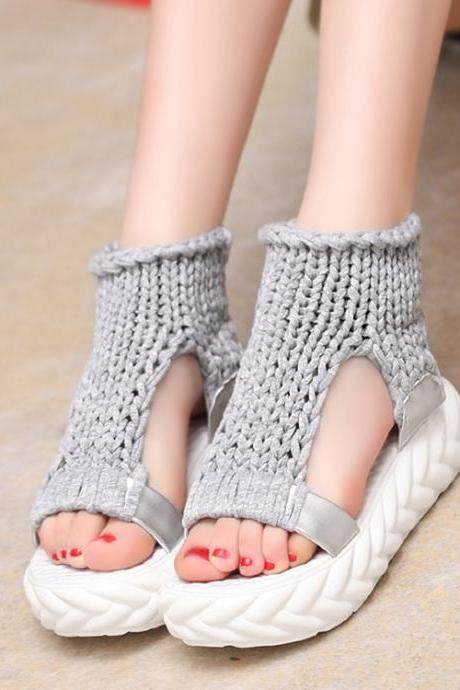 Knit Cut Out Open Toe Platform Flat Sandals