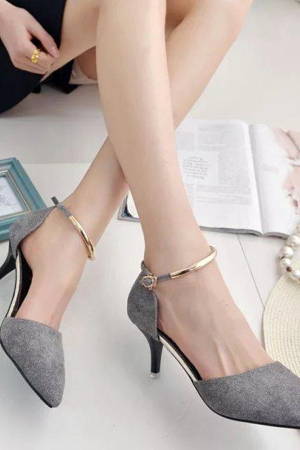 Low Cut Pointed Toe Ankle Wrap Stiletto Low Heels