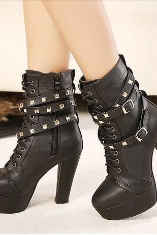 Round Toe Platform Rivets Lace Up High Heels Short Boots