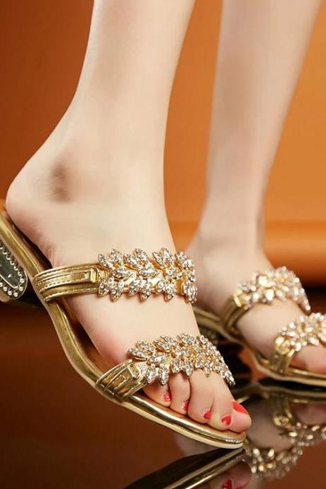 Crystal Open Toe Unique High Heels Snadals