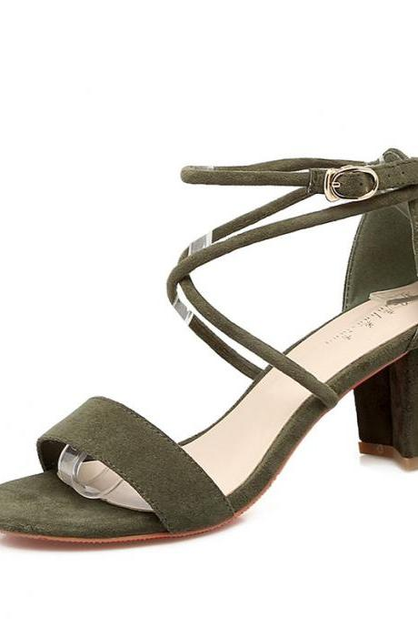 Open Toe Ankle Straps Wrap Low Chunky Heel Sandals