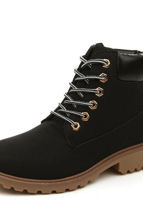 Plus Size Round Toe Lace Up Flat Short Martin Boots