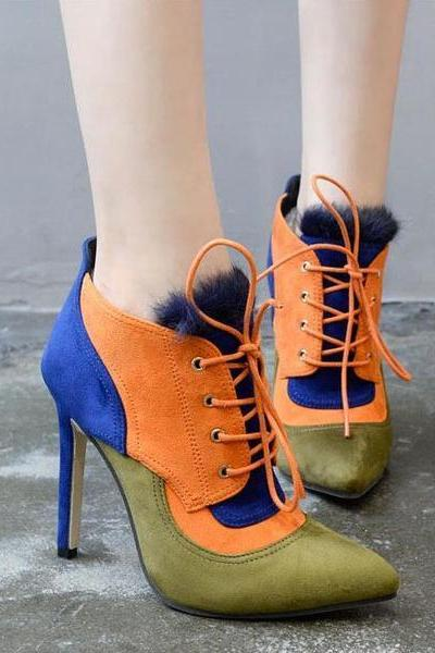 Stiletto Heel Pointed Toe Suede High Heels Short Boots